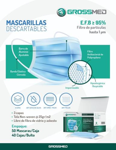 mascarillas descartables - caja 50 unds - grossmed