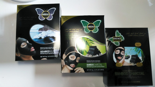 mascarillas faciales  de barro con bambu carbono volcanicas