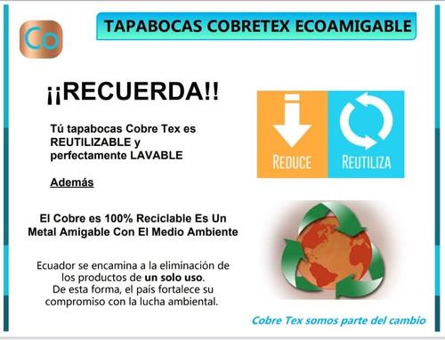 mascarillas hilo de cobre 100% anti-microbiano reutilizable