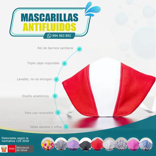 mascarillas lavables, antifluidos anatómicas, triple capa