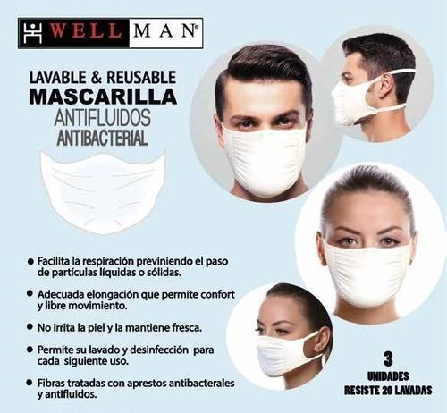 mascarillas marca wellman - set de 3 unidades
