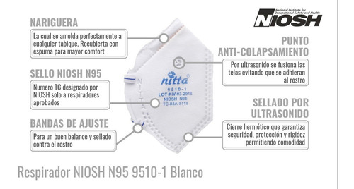 mascarillas n95 certificadas niosh, entrega inmediata.