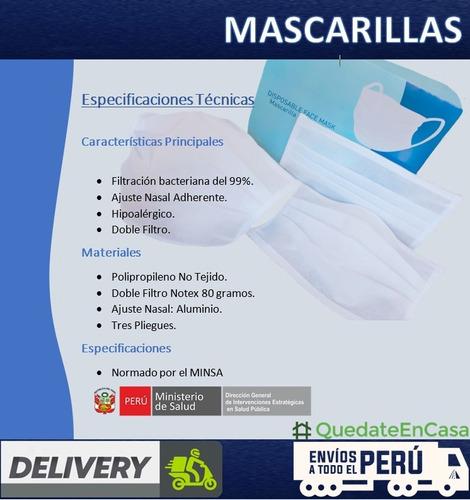 mascarillas quirúrgica reutilizable notex 80g minsa 50 unid