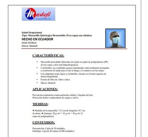 mascarillas quirúrgicas termoselladas entrega inmediata