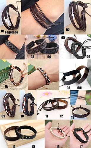 masculina couro pulseira bracelete