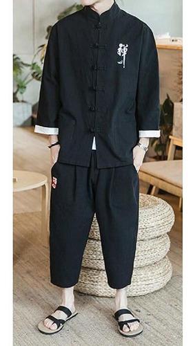masculino algodão linho cardigã e calças 2 peças roupas