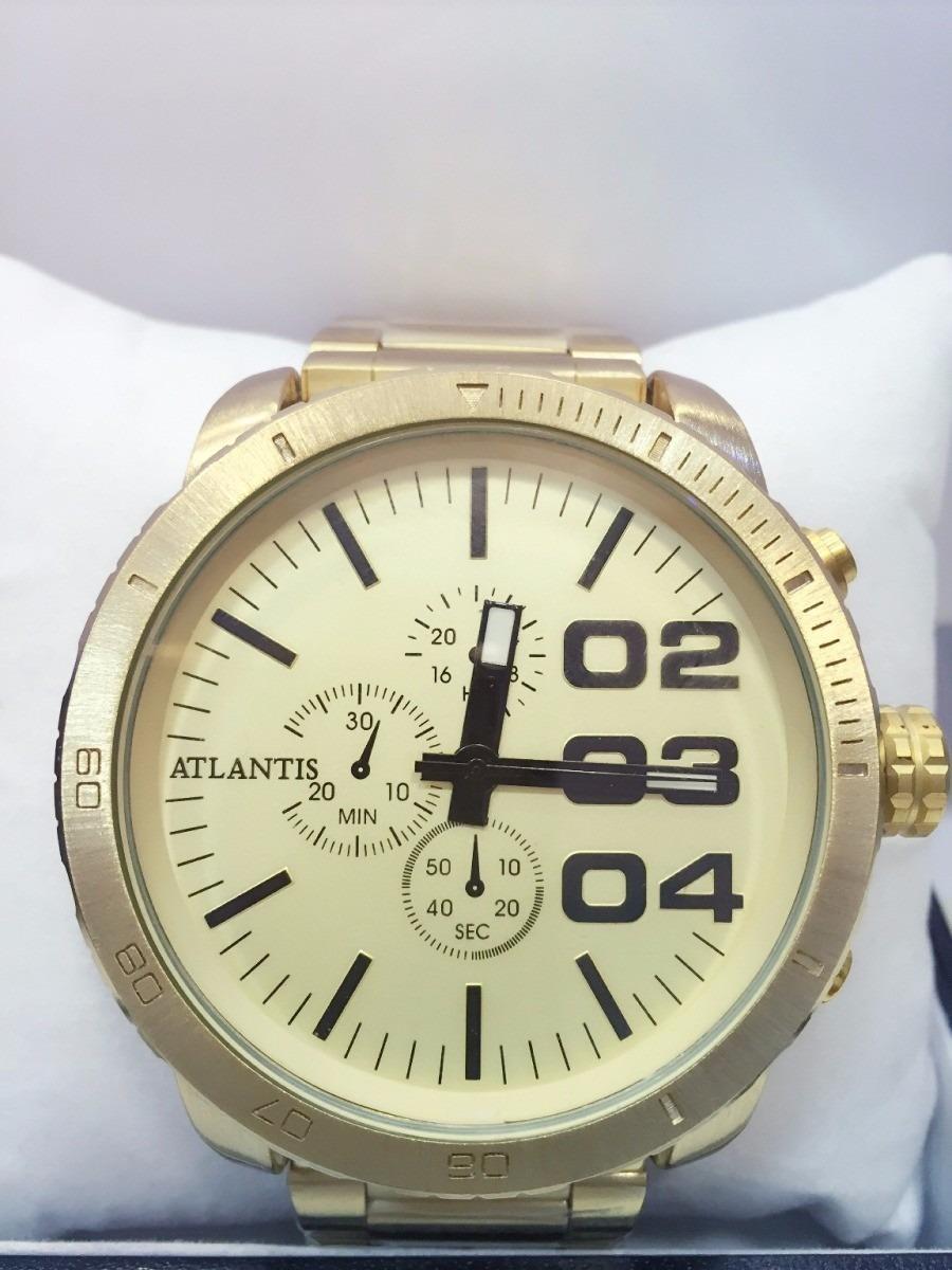 f3a12310526 Relógio Masculino Atlantis Original Homem Grande Dourado Aço - R  120