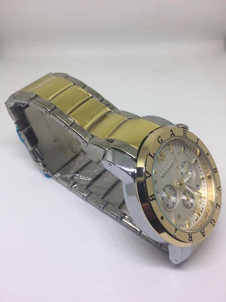 03e244a2cab Carregando zoom... relógio masculino bvlgari prata e dourado réplica