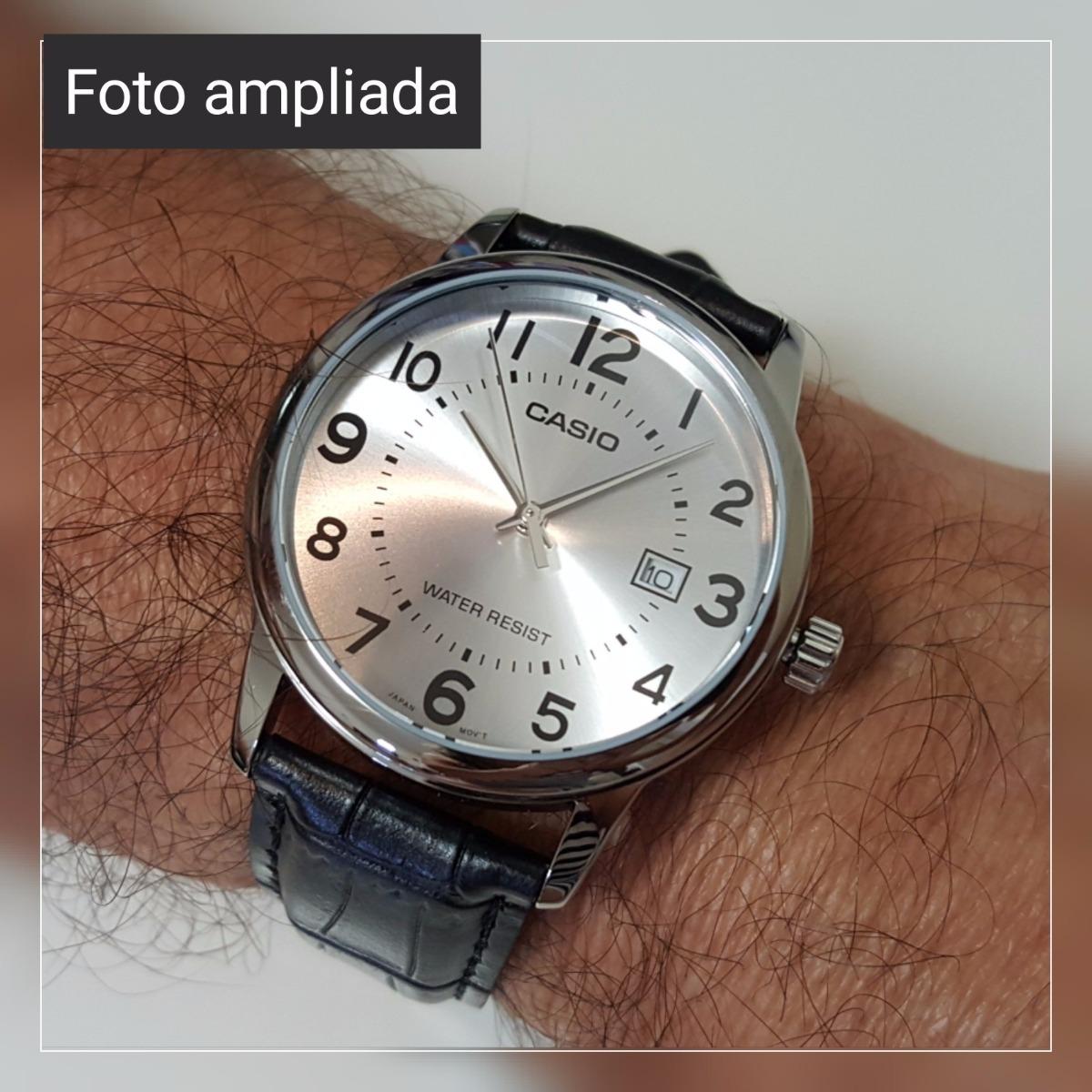 e204ebbb2ad Carregando zoom... relógio masculino casio couro preto visor prata números  data