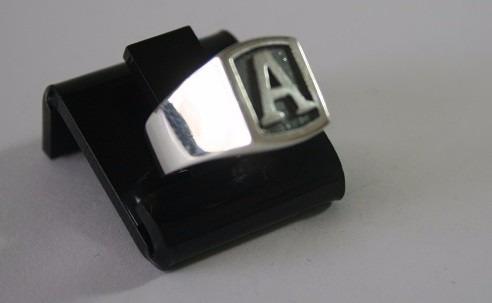 masculino com letra anel prata