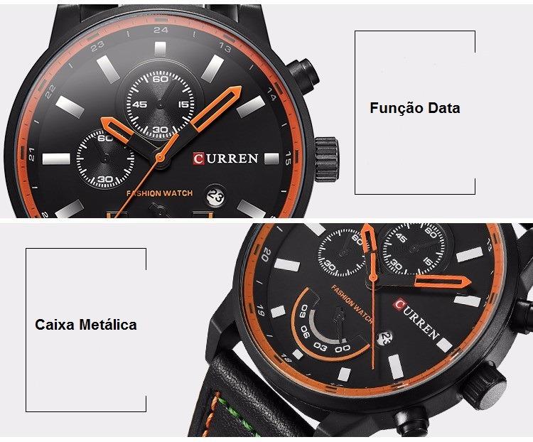 177b5b3ef5c masculino curren relógio 2 relógio masculino curren original pulseira couro  calendário