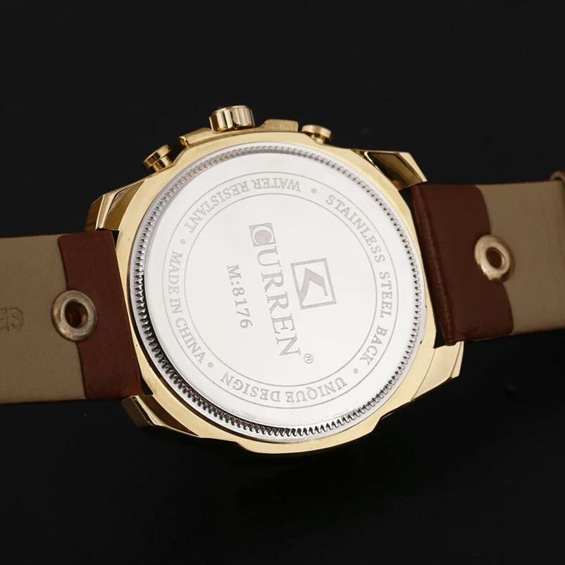 80bb2324ec5 Relógio Masculino Curren Dourado Original Quartzo Luxo - R  129
