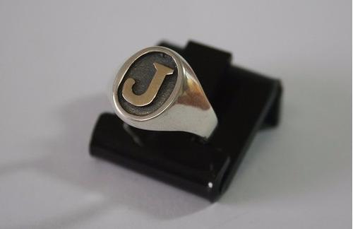 masculino letra anel prata