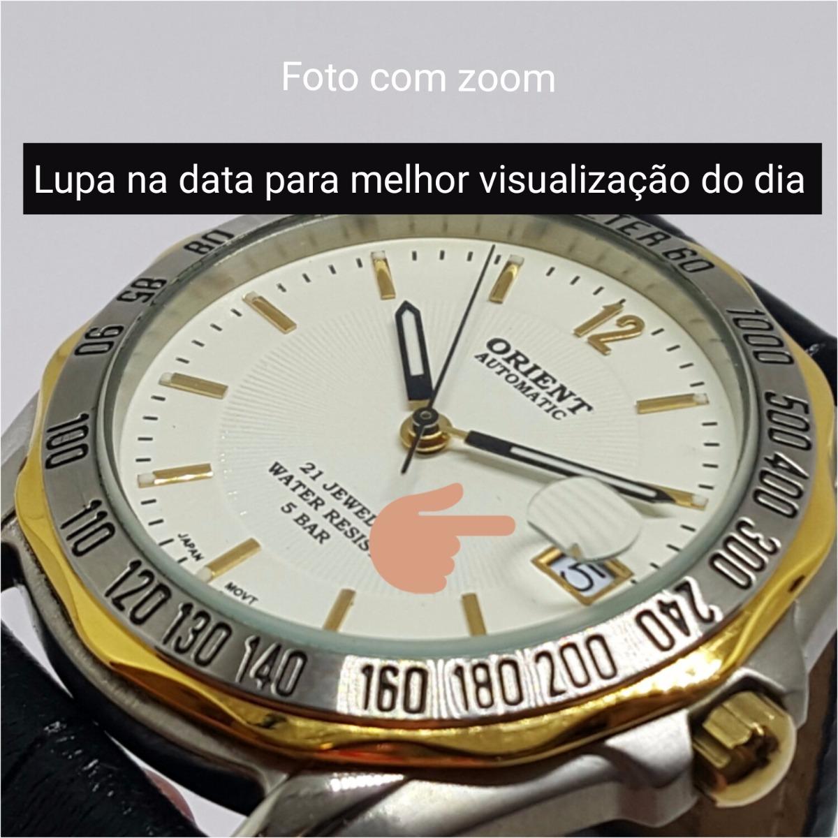 599a97916ce Relógio Pulso Masculino Automático Fundo Branco Data Orient - R  479 ...