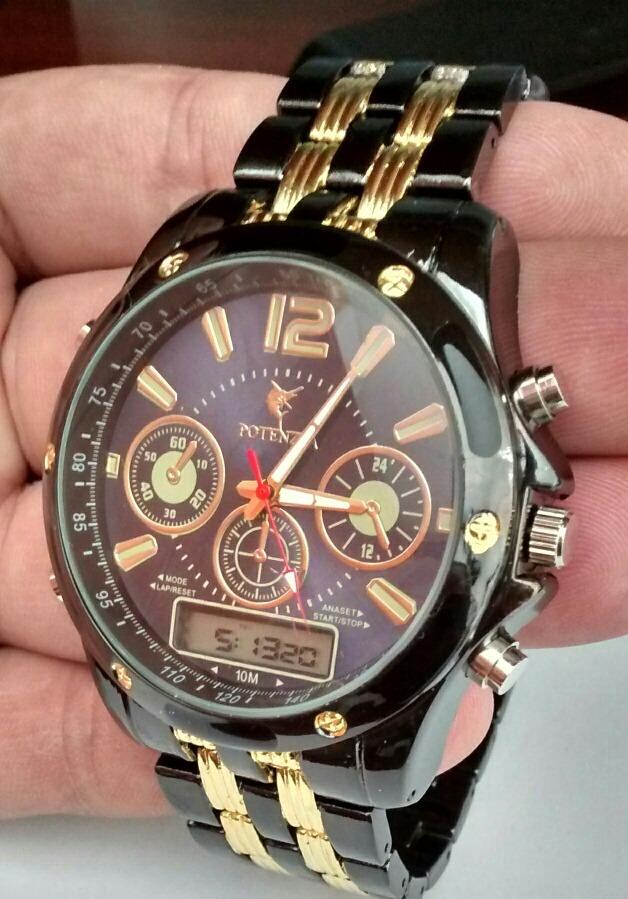 f5765bef6ad Relógio Masculino Potenzia Luxo Analógico E Digital Kit C 5
