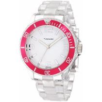 Reloj De Dama Vernier Original Fucsia Con Correa Transparent