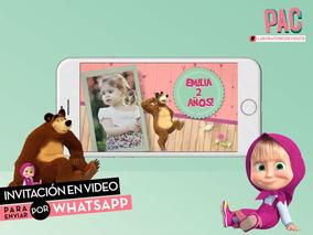 Masha Y El Oso Invitación Virtual En Video Whatsapp única