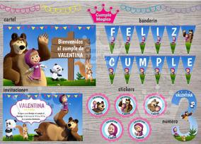 Masha Y Oso Kit Impreso Invitacion Banderín Cartel Stickers