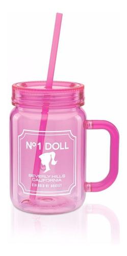 mason jar barbie beauty caneco pote rosa tampa canudo 500 ml