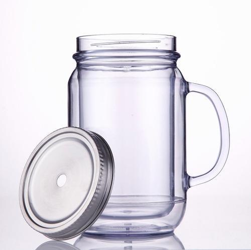 mason jar cupture acrílico doble con tapa de acero 20oz