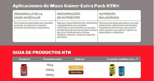 mass gainer extra pack 3 kg htn ganador peso y masa muscular