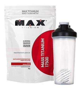 mass titanium 17500 3kg refil + coqueteleira - max titanium