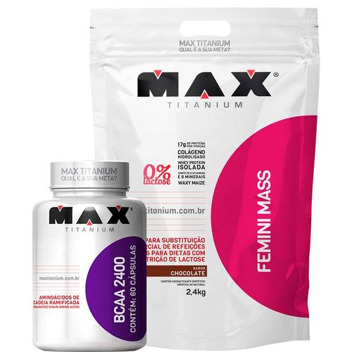 massa feminina 2,4kg + bcaa 2400 - max titanium