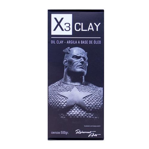 massa plastilina x3 oil clay extra hard cinza 500g