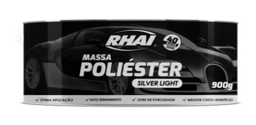 massa poliéster silver light rhai 900g