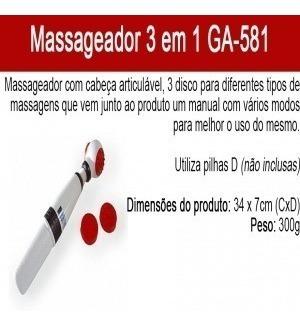 massageador portátil 3 em 1 ga-581 - pronta entrega