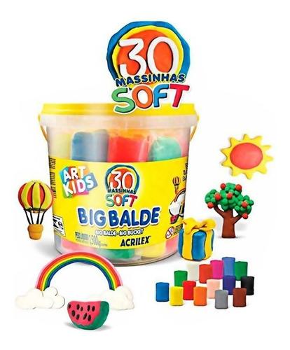 massinha de modelar big balde kit c/30 unidades sortida