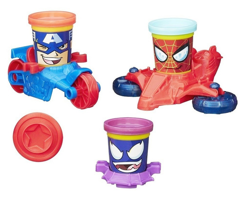 massinha play-doh marvel c/ capitão américa homem aranha