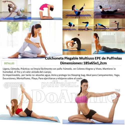 mat alfombra yoga pilates 12mm colchoneta camping playa