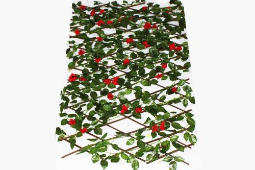 matas artificiales decoración flores rojas amarillas 12271wd