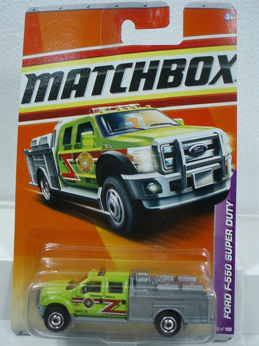 matchbox camion de bomberos ford f-550 sd 50/100 metal 1/64