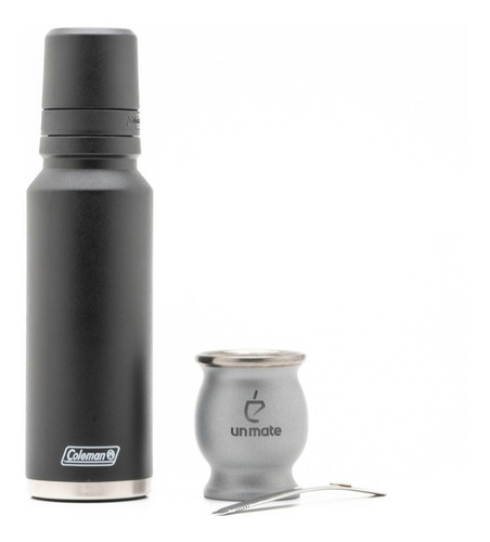 mate acero platino +  termo acero inoxidable coleman 1.2lts