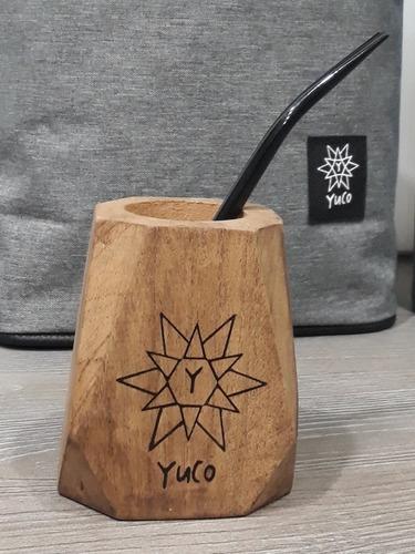mate algarrobo geométrico yuco +bombilla (opc personalizado)