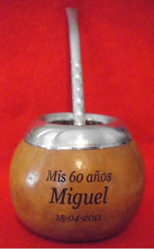 mate calabaza mediano souvenir bombilla y grabado incluido
