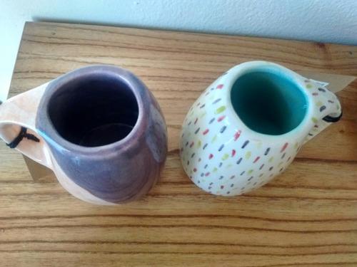 mate cerámica artesanal (naranja con violeta)