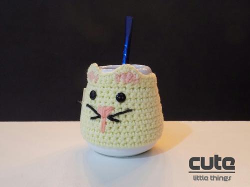 mate ceramica  funda gatito deco