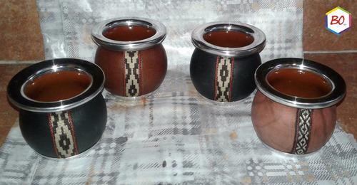 mate de ceramica forrado en cuero
