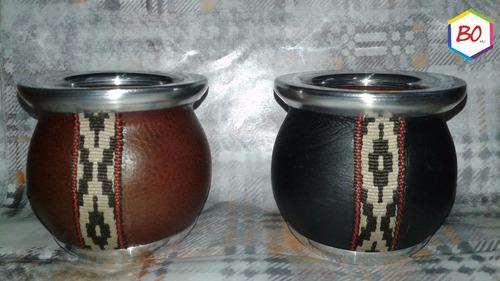 mate de ceramica forrado en cuero dia del padre