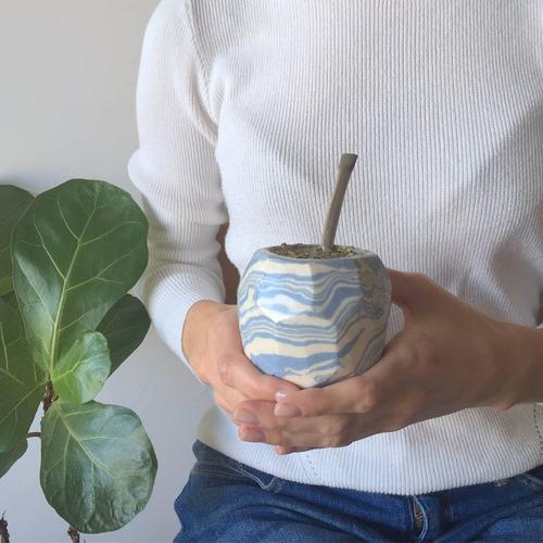 mate de cerámica marmolado artesanal