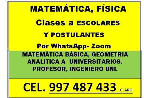 matemática, física escolar, postulante, por whatsapp, zoom