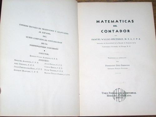 matemáticas del contador - samuel waldo specthrie - uteha