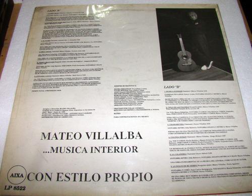mateo villalba musica interior con estilo propio lp arg