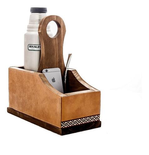 matera de auto en madera buen peso ! capacidad termo stanley