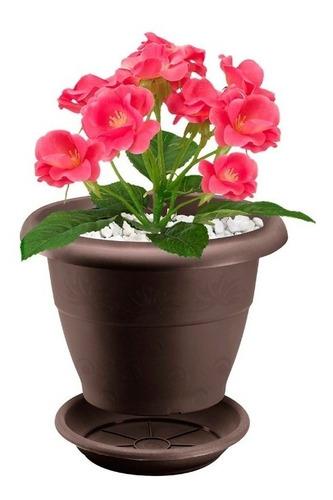 matera plastica jardin rimax redonda con plato 35 cm
