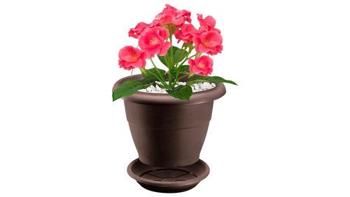 matera plastica jardin rimax redonda con plato 40 cm
