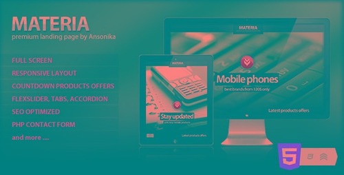 materia responsive fullscreen landing page